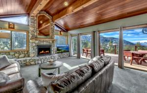 Main living space overlooking mountains and lake.