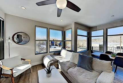 Main floor living room with beige sectional