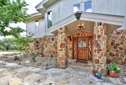 Stone siding and entryway to the Lodge