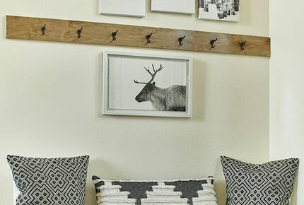 Home exchange in Fraser CO, farmhouse-style coat hook with bench cubby