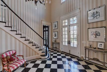 Home exchange in Charlotte NC, grand foyer with checkered flooring