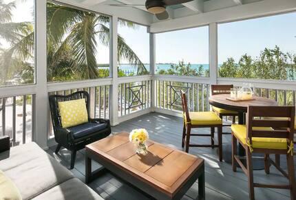 Home exchange in Key West FL, Hyatt Beach House screened-in balcony
